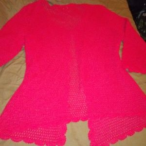 Red Knit 3/4 sleeve shawl with sleeves